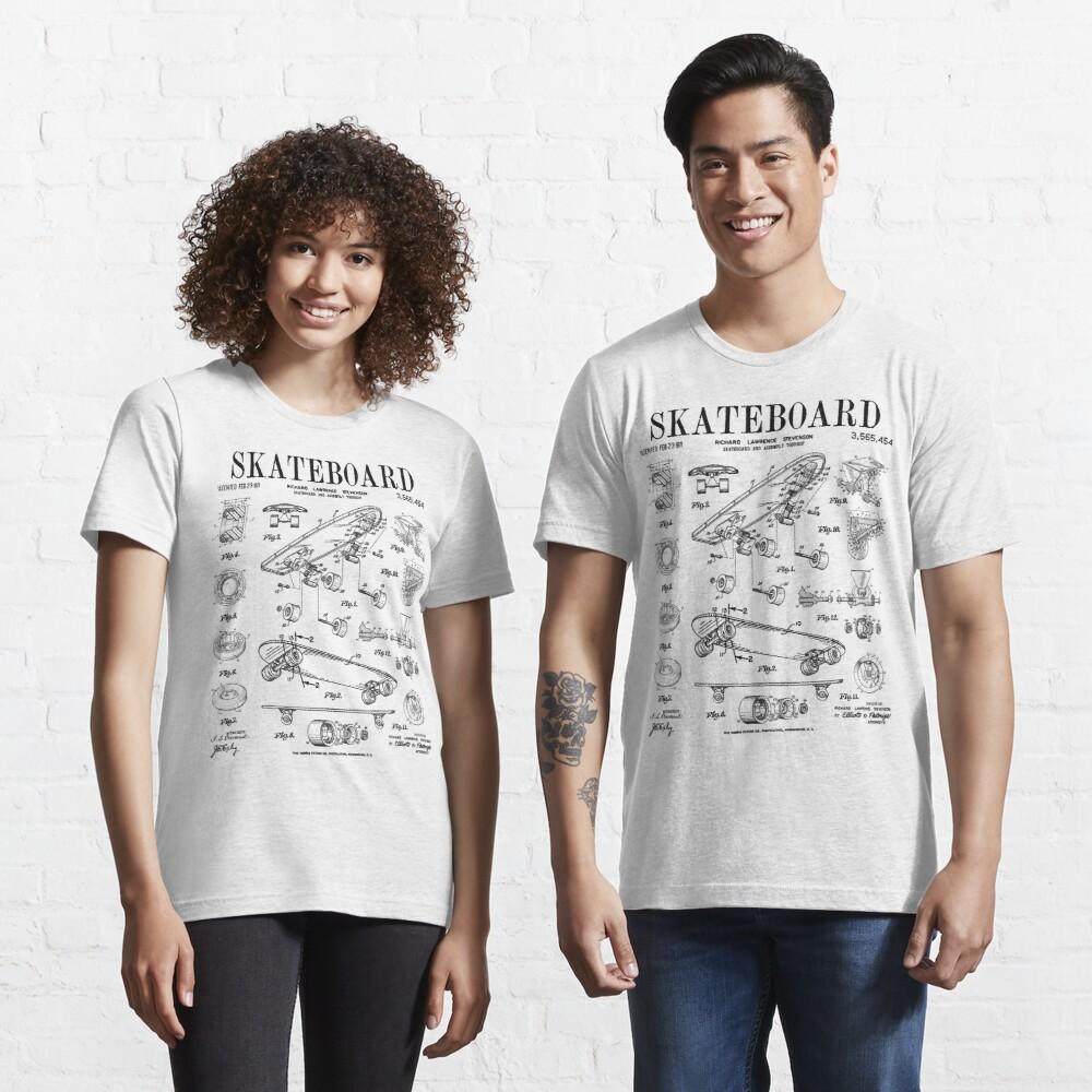 Skater Skateboard Skateboarding Vintage Patent Drawing Print Black Essential T-Shirt by GrandeDuc