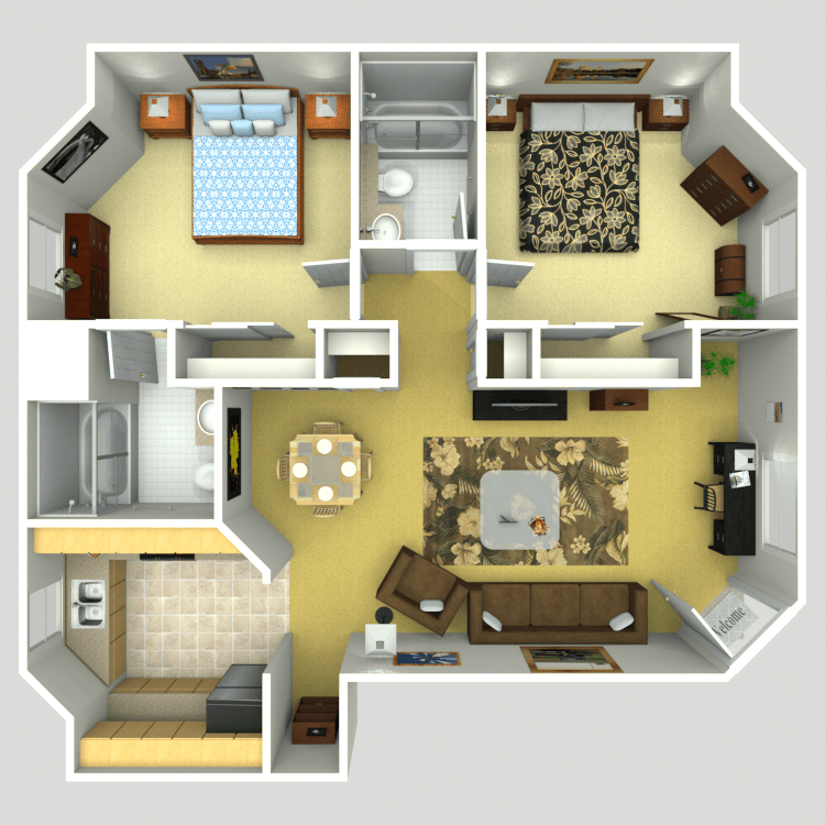 1 Story 2 Bed 2 Bath One Bedroom House Plans Sims House Apartment Floor Plans