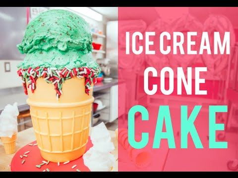 How To Cake… a Mint Chocolate Chip ICE CREAM CONE CAKE! Vanilla, chocolate, fondant and buttercream! #Cakes #Baking #Dessert