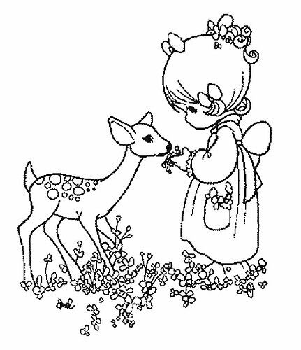 Girl With Deer Precious Moments Coloring Pages Coloring Pages Coloring Books
