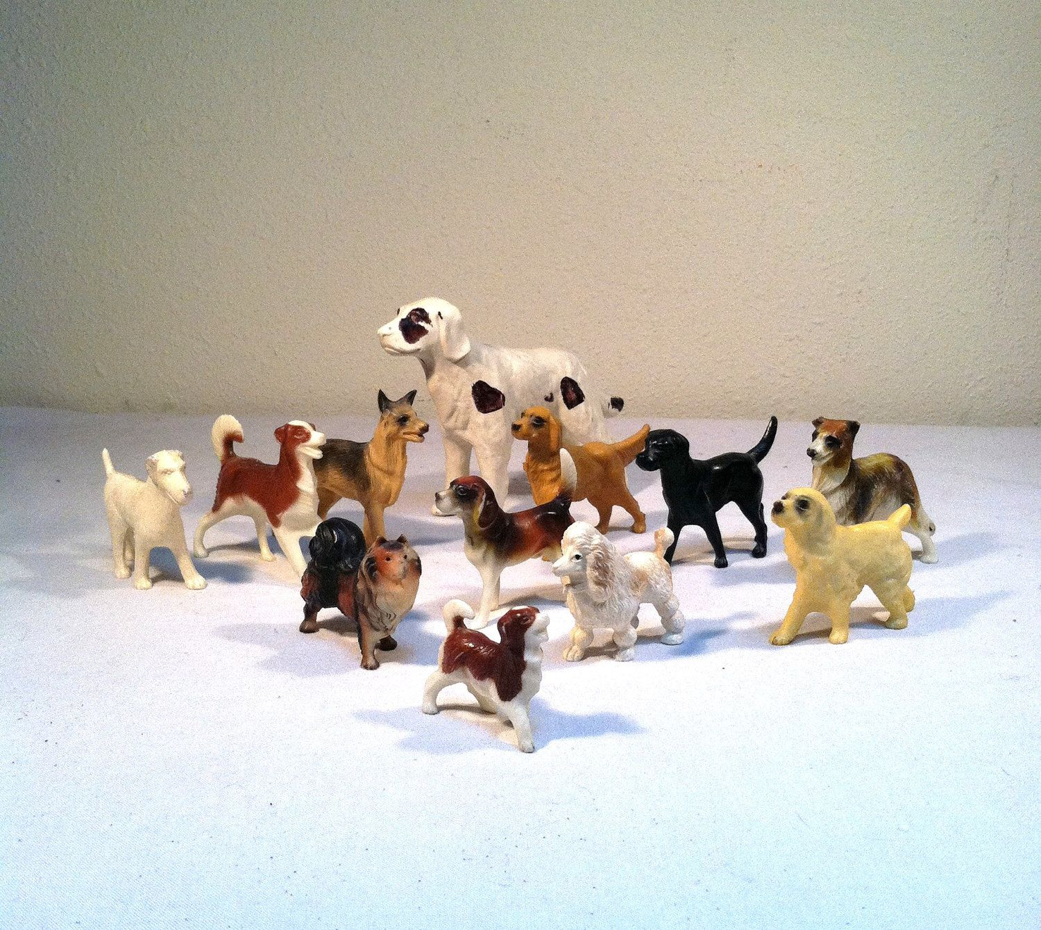 Twelve Tiny Dogs Vintage 50s 60s Plastic Toy Puppy Figurines