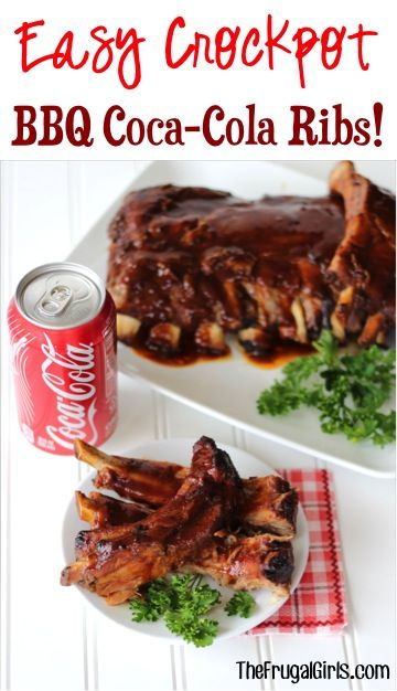 Crockpot Ribs with Coke!  This EASY Slow Cooker BBQ Coca-Cola Rib Recipe makes the BEST fall-off-the-bone ribs!  Just 5 ingredients! | TheFrugalGirls.com