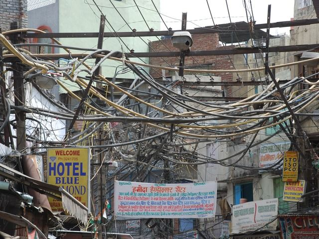 Image for Standard wiring on a street in Old Delhi