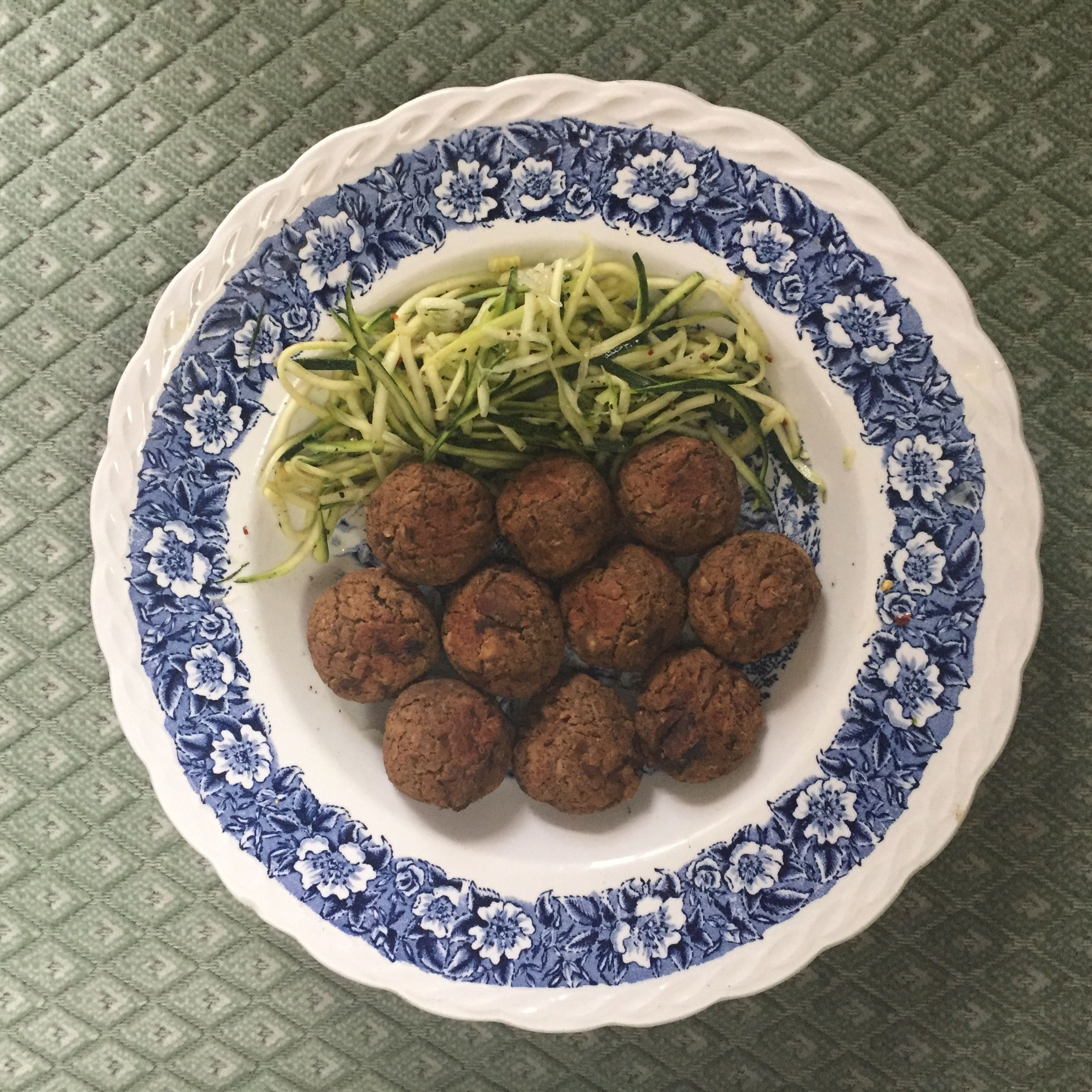 Chickpea and Mushroom Balls with Courgetti.