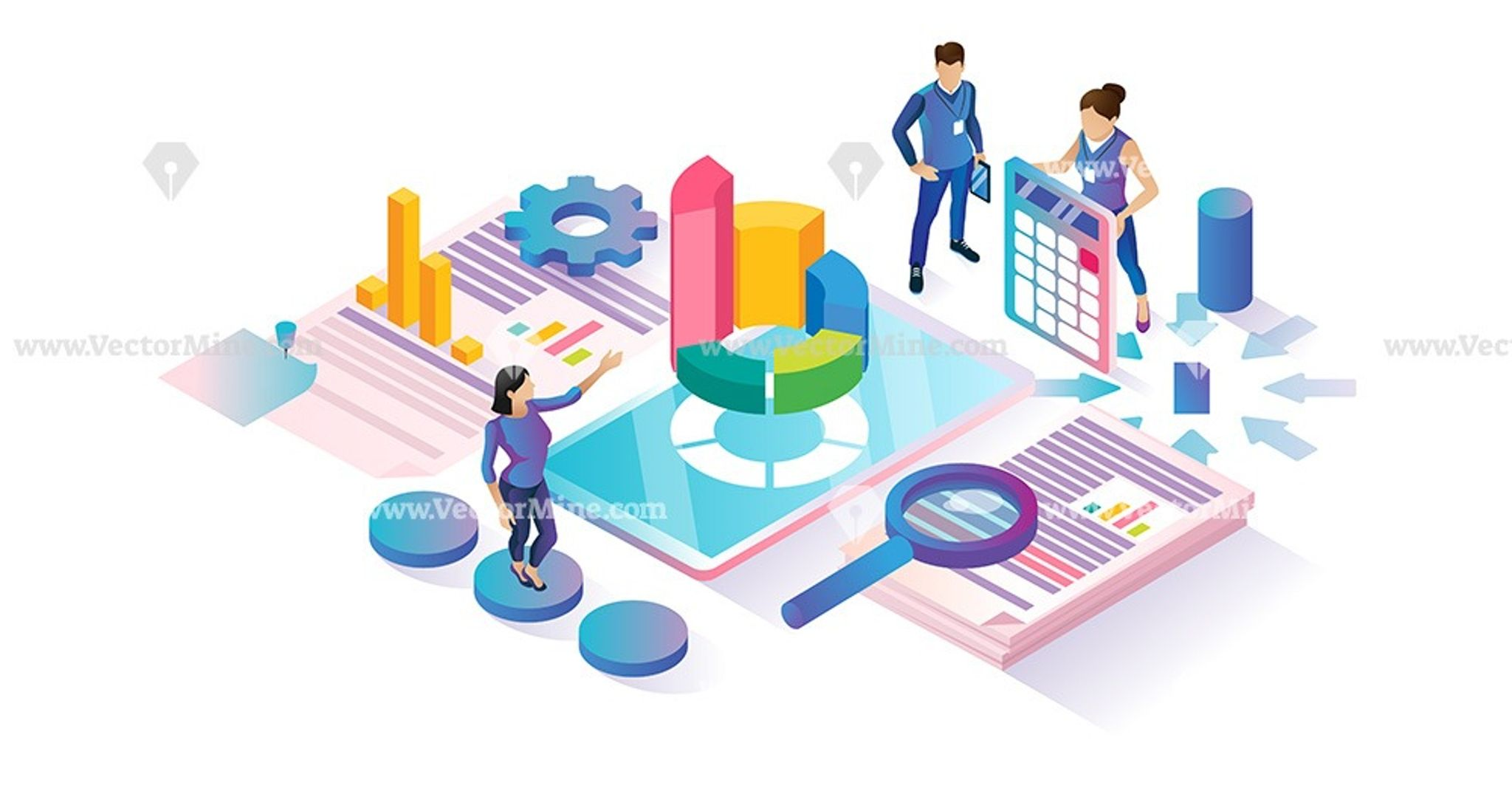 Data Research Isometric Cyberspace Concept Illustration