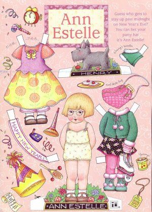 Happy New Year Ann Estelle Paper Doll Sheet from Mary Engelbreit's Home Companion