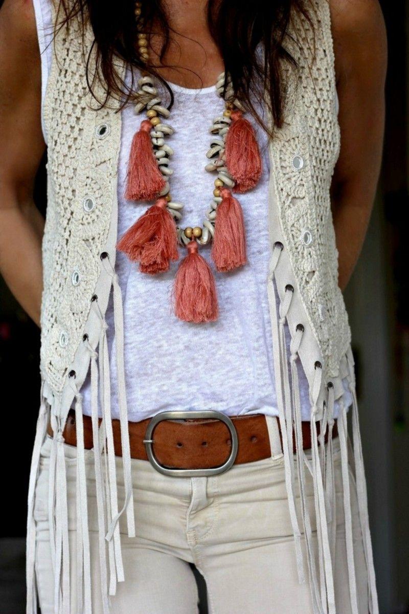 Chaleco Blanco De Crochet y Espalda de Antelina Con Detalle de flecos  114277MONISQUI 037e0066ded8
