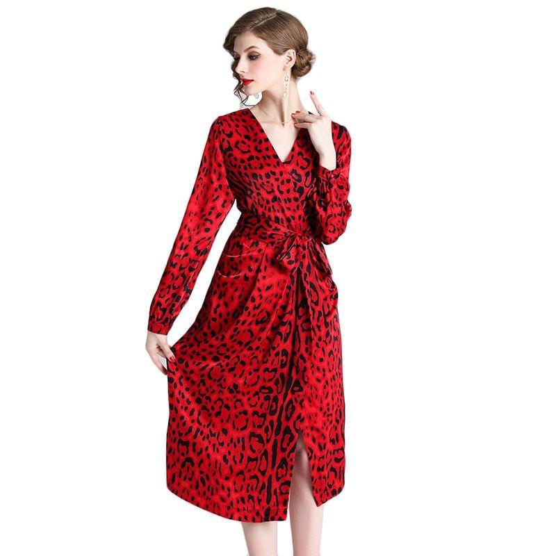 5801b1e6457f5 fasshion 2019 Sexy Vintage Red Leopard Print Dress Office Lady Work ...
