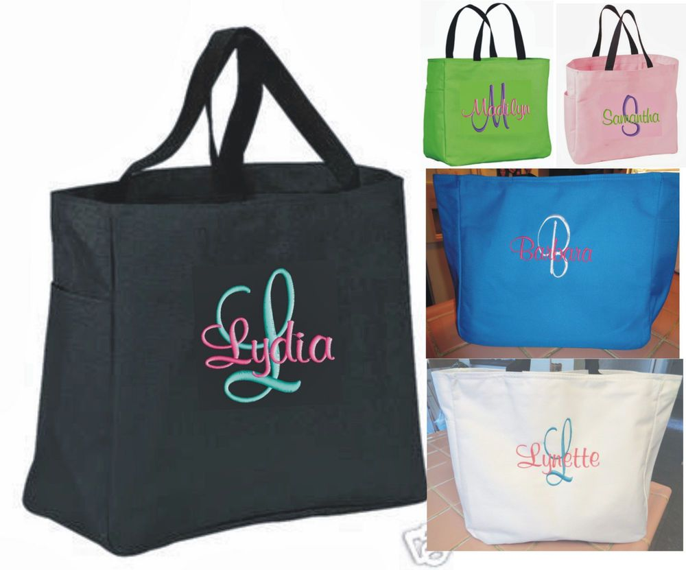 5 personalized tote bag monogram bridesmaid gift wedding