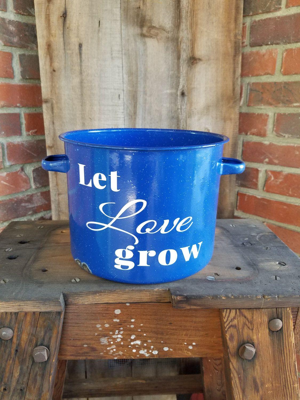 Blue enamelware pot number decor number 1 number 1 decor