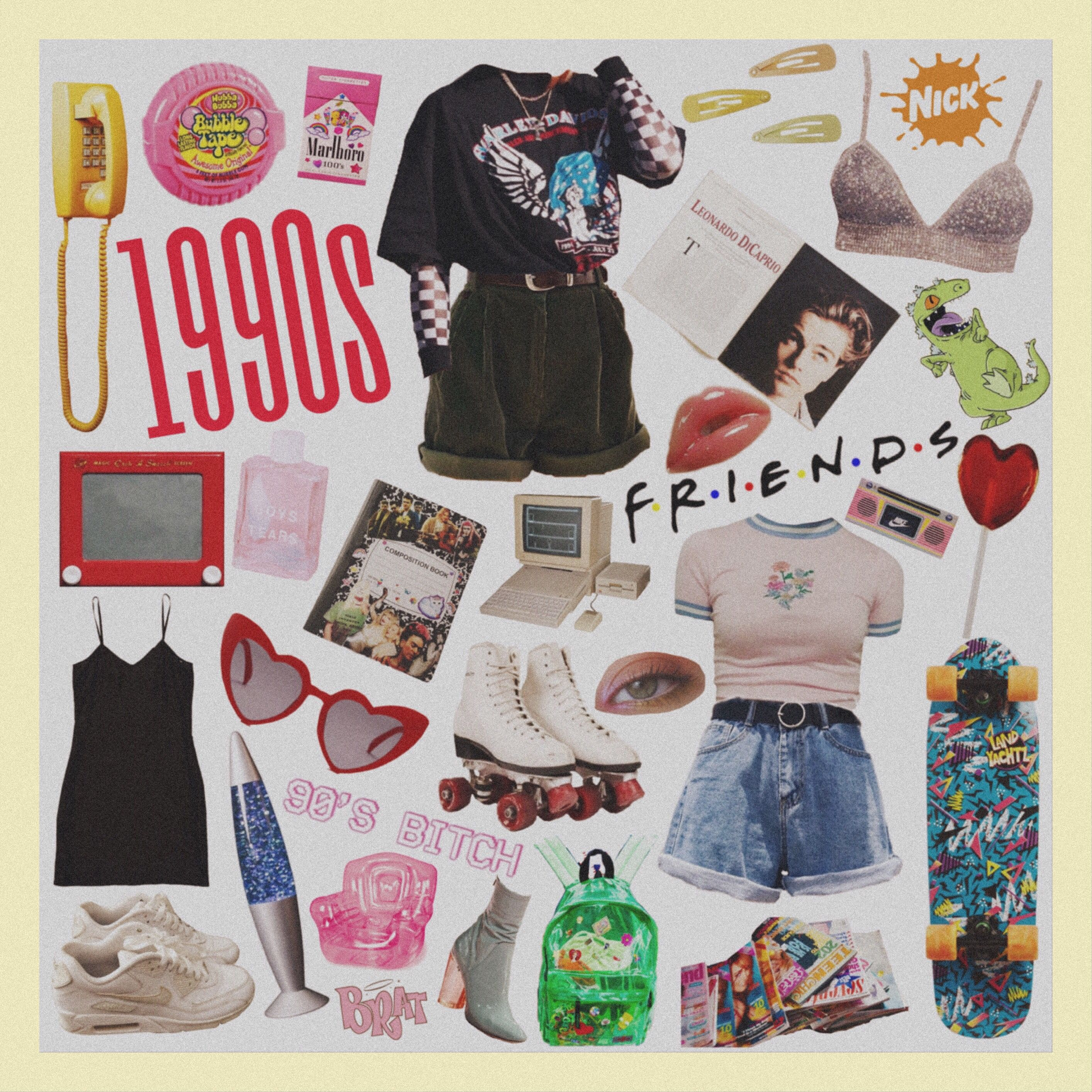 90s Aesthetic Vintage Clothes Shop Mood Board Fashion 90s Girl