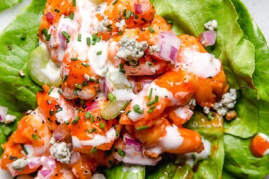 Low-Carb Buffalo Shrimp Lettuce Wraps - Skinnytaste