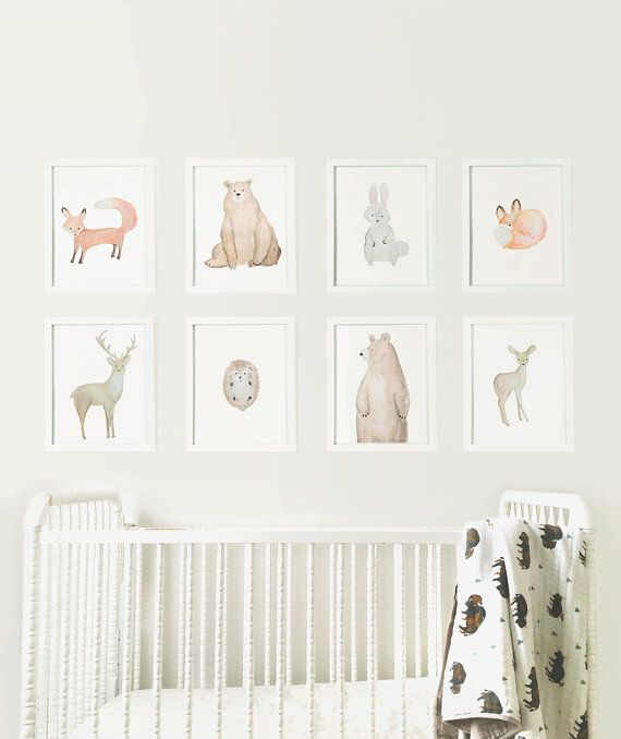 Woodland Animals Set Digital Prints Forest Animal Nursery Series Wall Art Watercolor Gender Neutral