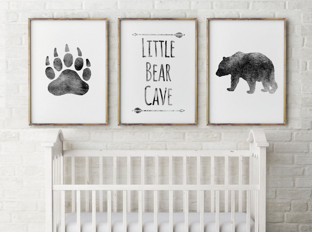 Baby Boy Nursery Decor Bear Cave Grey Little Bear Bear