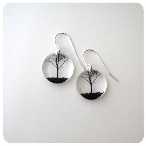 Acrylic Round City Tree Earrings by blackdrop on Etsy