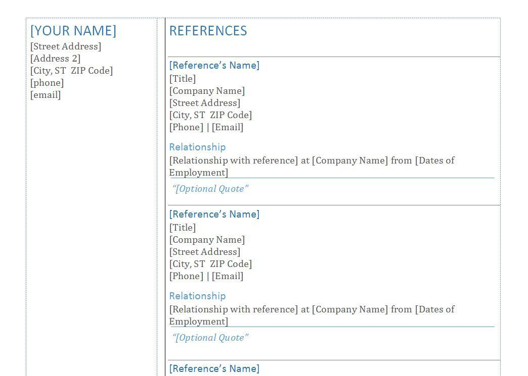 References Template Einzigartig Reference Example For Resume
