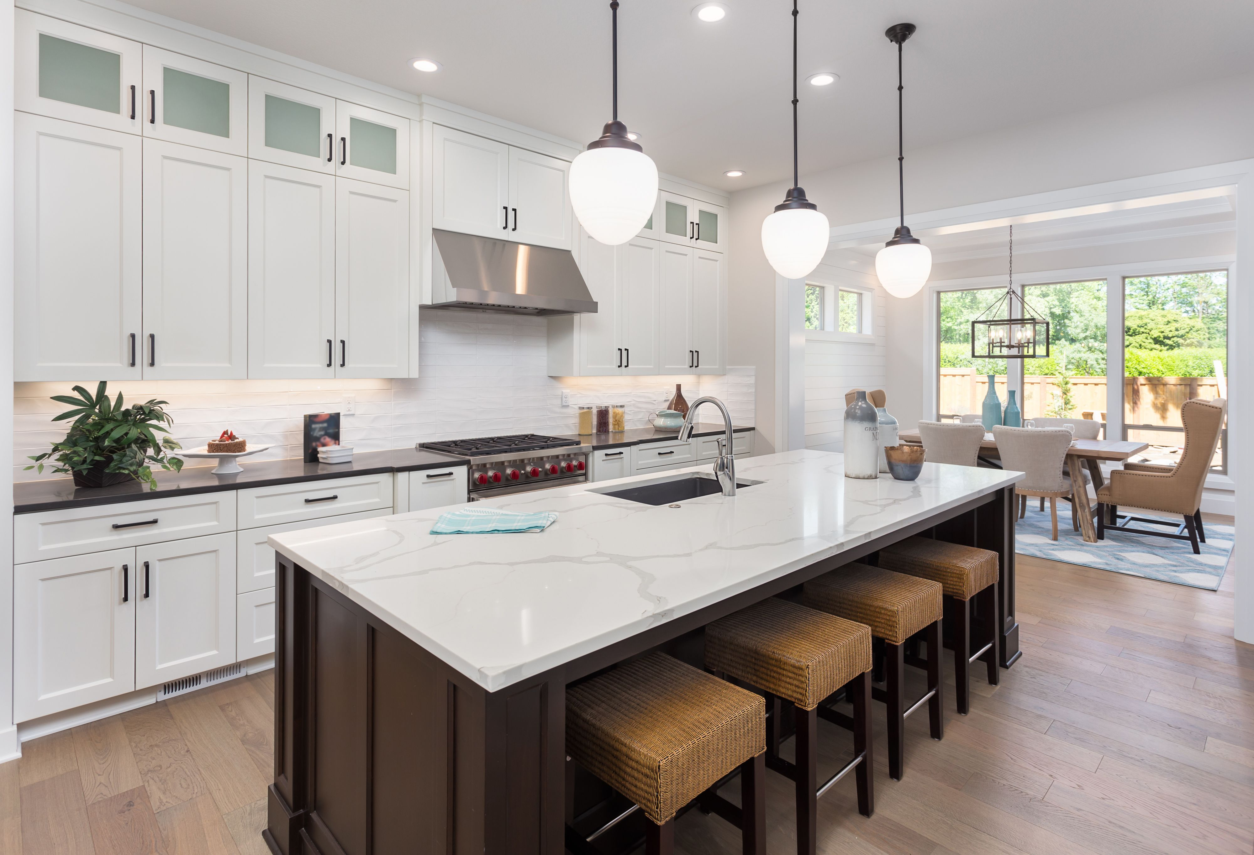 White Shaker Cabinets With Dark Island Kitchen Remodel Layout Kitchen Remodel Small Kitchen Design Small
