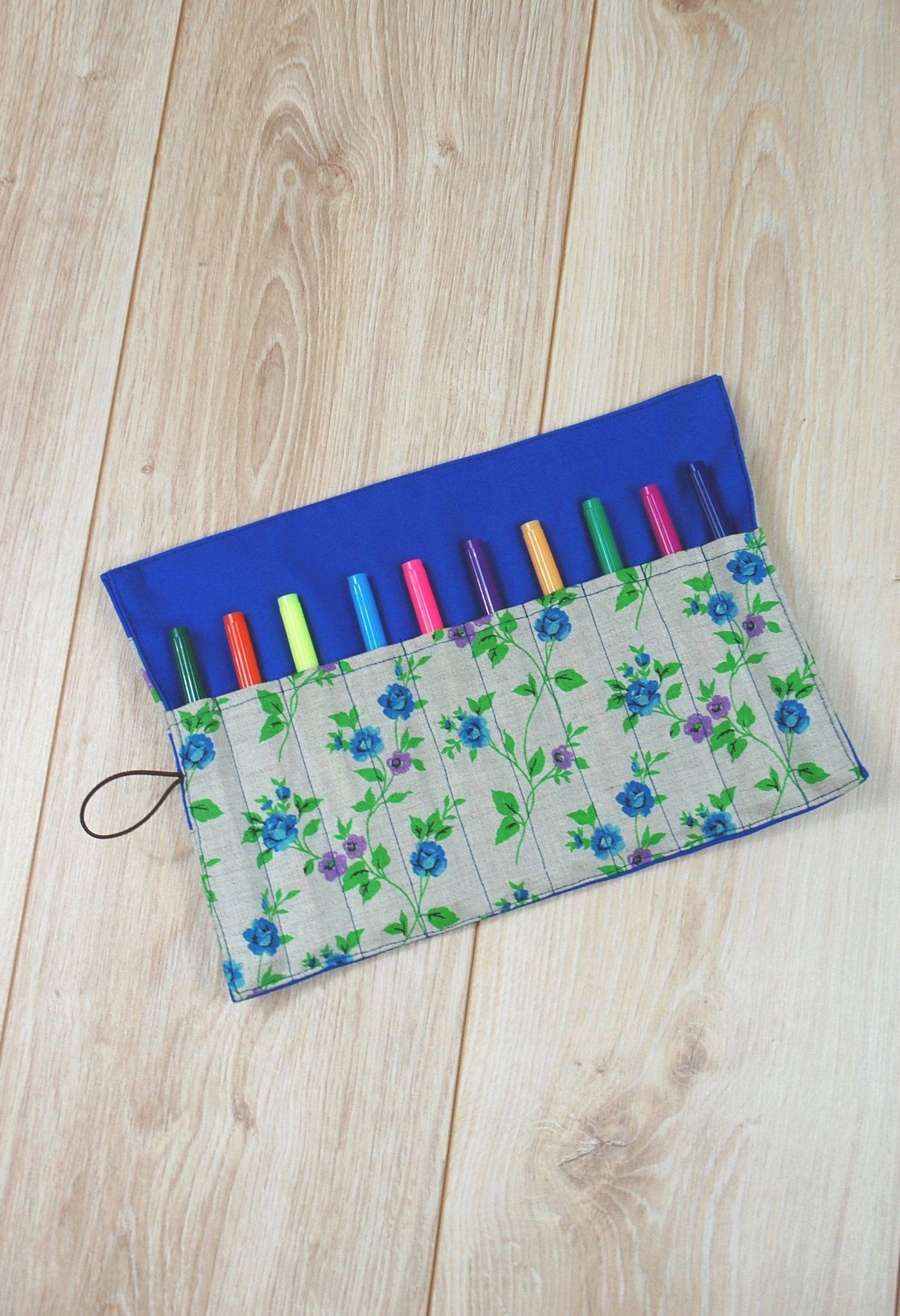 Floral roll up pencil case artist cotton roll organizer