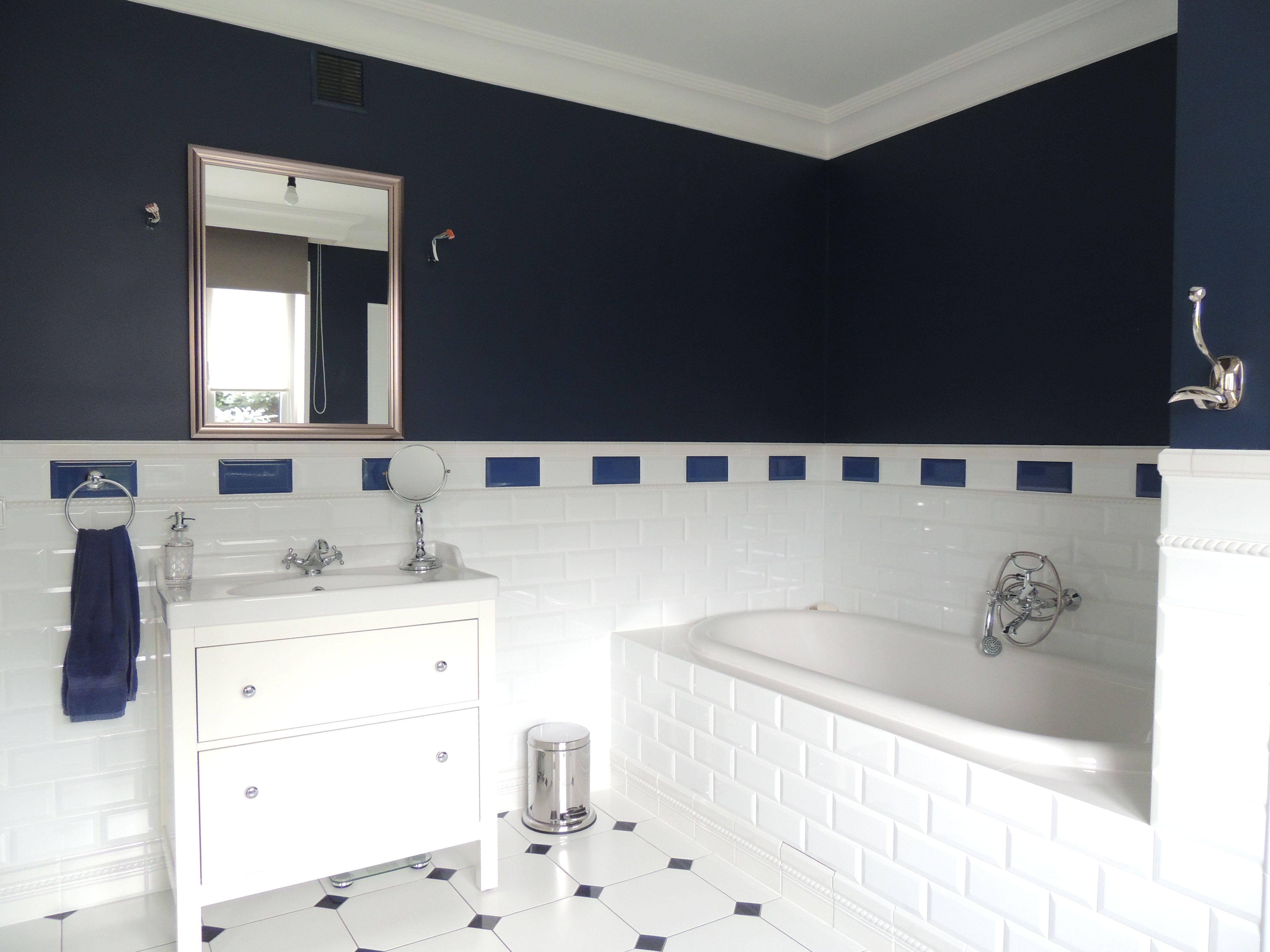 Bathroom Navy Blue White łazienka Granat Biały My Home
