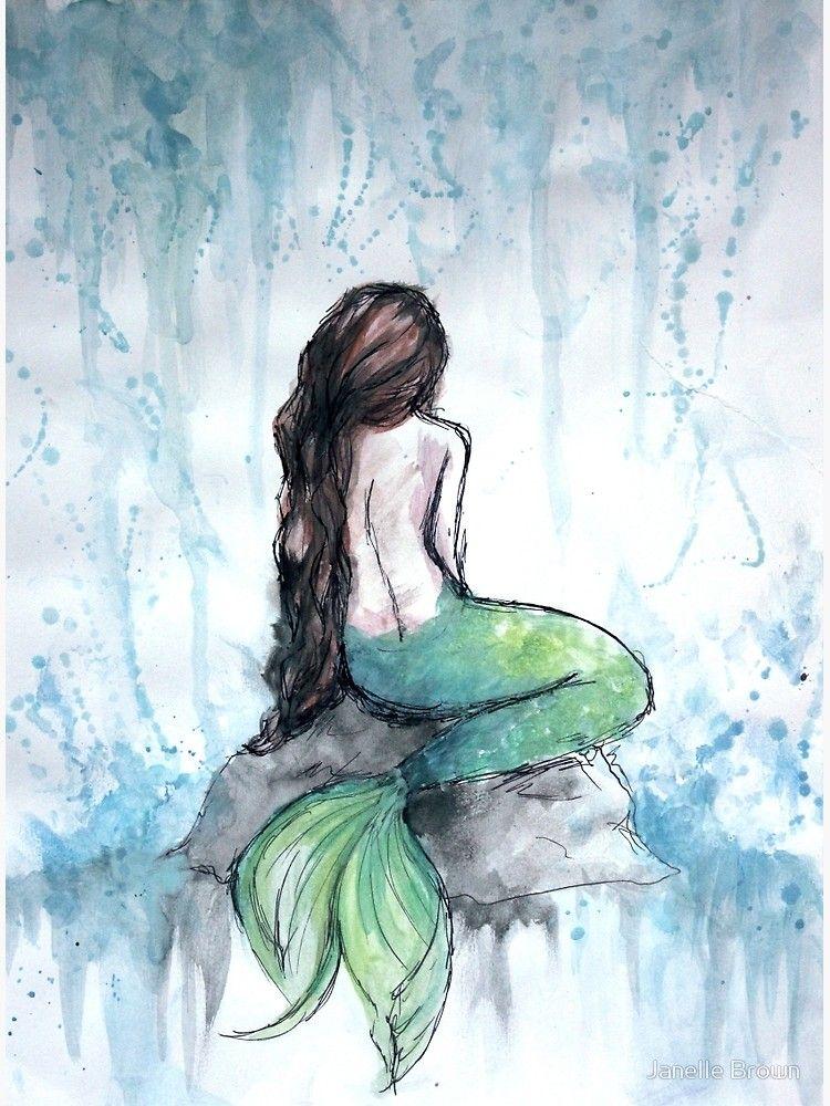 Meerjungfrau Aquarell Poster Von Ivegotartitude Redbubble