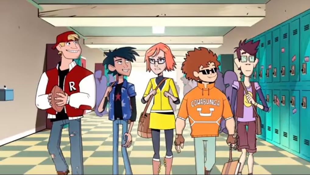 Raphael, Leonardo, Michelangelo & Donatello in human form joining April in high school.