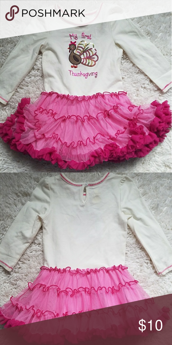 594e496e76a6 My First Thanksgiving Dress Tutu is attached to the onesie. Onesie snaps  underneath tutu. The cutest! 🦃 Koala Kids Dresses Casual