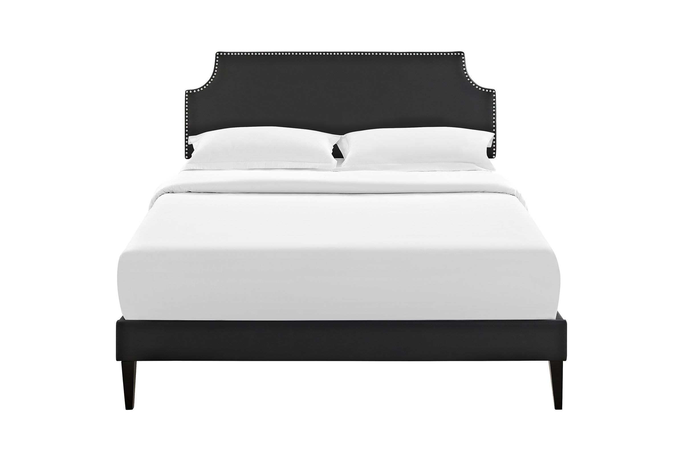 Laura Queen Platform Bed With Squared Tapered Legs In Black By