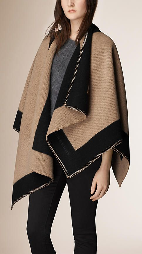 ae81c13cc891 Burberry Camel Stripe Wool and Cashmere Blanket Poncho - A blanket poncho  crafted in Scotland from wool and cashmere. The design is jacquard-woven  with a ...