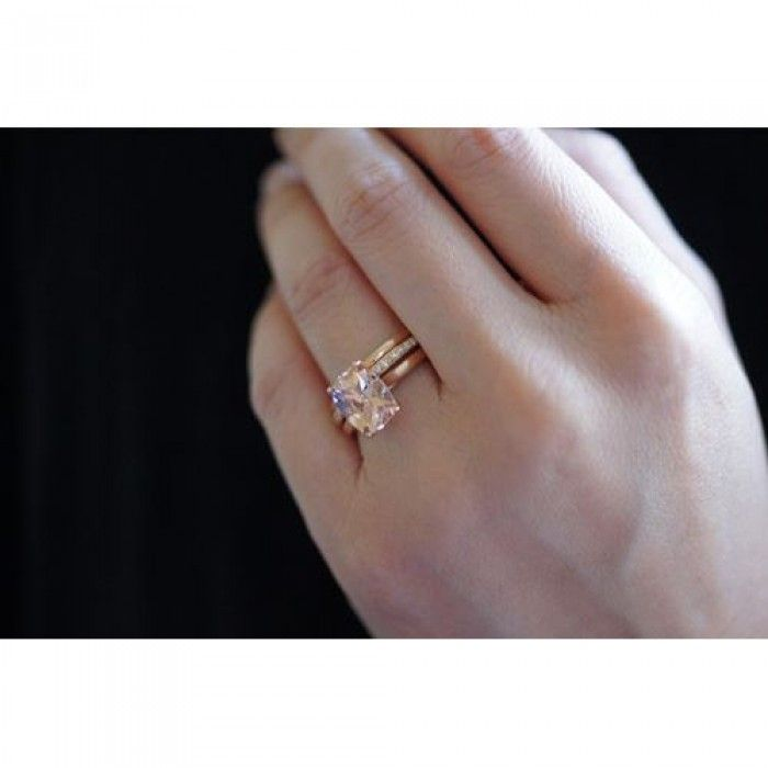 Morganite ring 10x8 cushion cathedral solitaire engagement ring