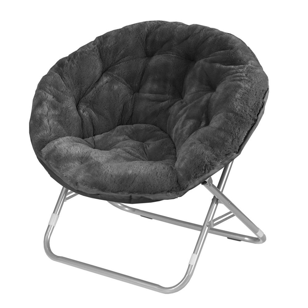 Oversized Grey Folding Moon Chair Saucer Bean Bag Chair Metal Frame Dorm Camping