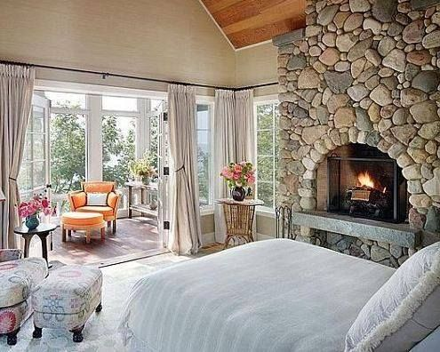 A Stone Fireplace Is Essential In The Master Suite Specially In In New England Cottage Style Bedrooms Cozy Bedroom Design Traditional Bedroom