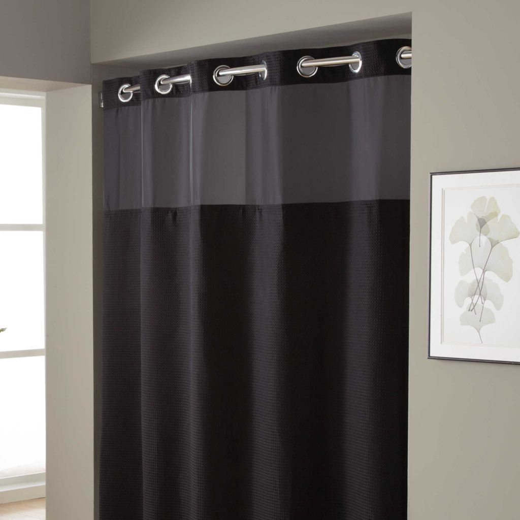 Hookless Waffle Fabric Shower Curtain And Liner Set Black Shower Curtains Fabric Shower Curtains