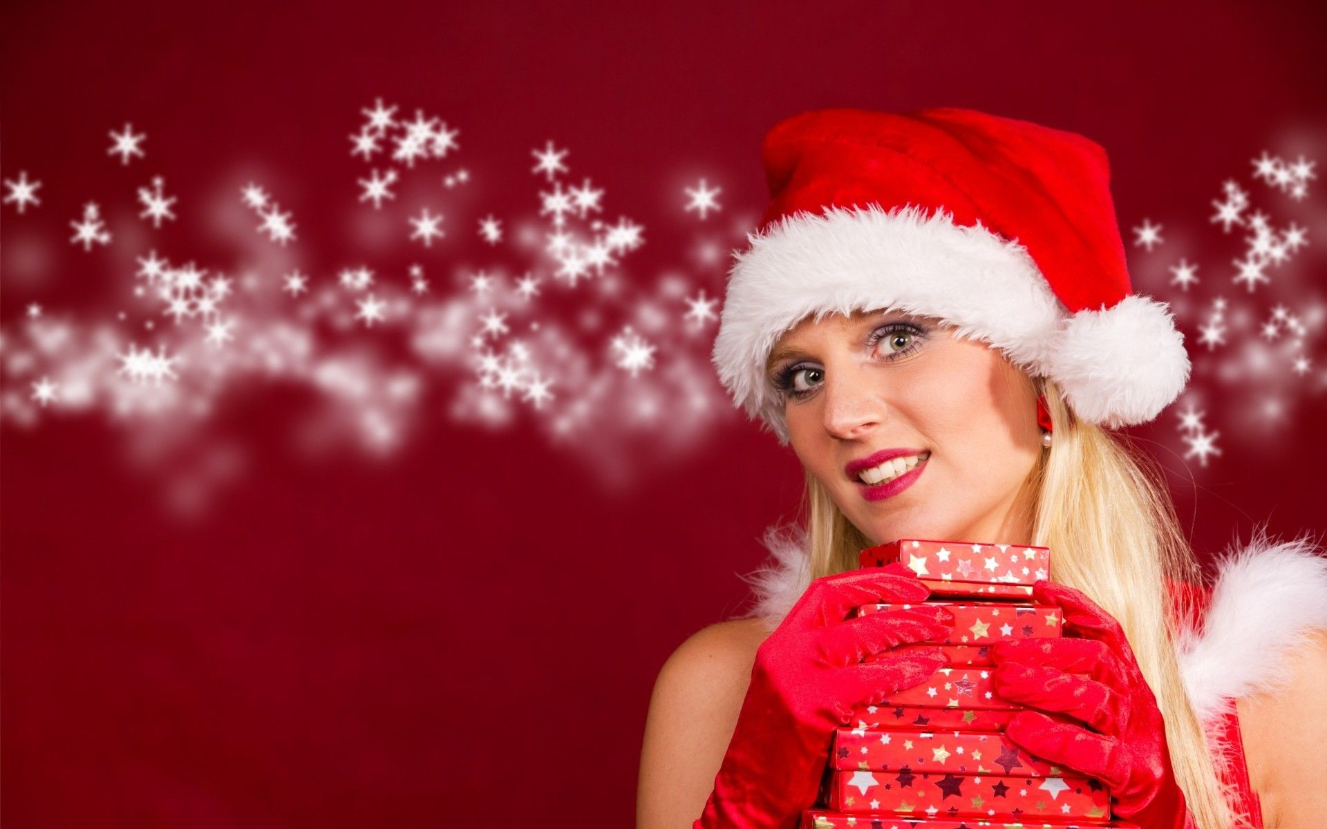 Cute Girl Christmas Gifts Hd Wallpapers Rozhdestvo