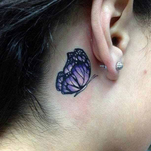 Purple Butterfly Behind Ear Tattoo Designs Purple Butterfly
