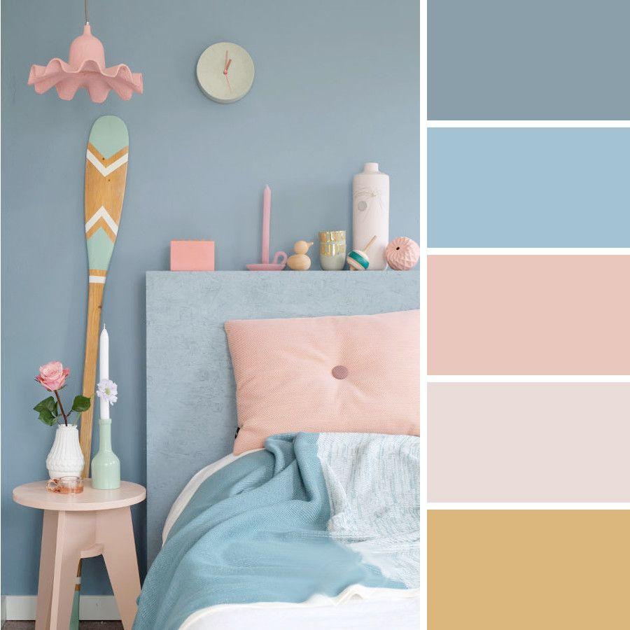 Gris Humo Y Rosas Paletas De Colores Para Dormitorio Combinaciones De Colores Del Dormitorio Decoracion De Habitacion Azul