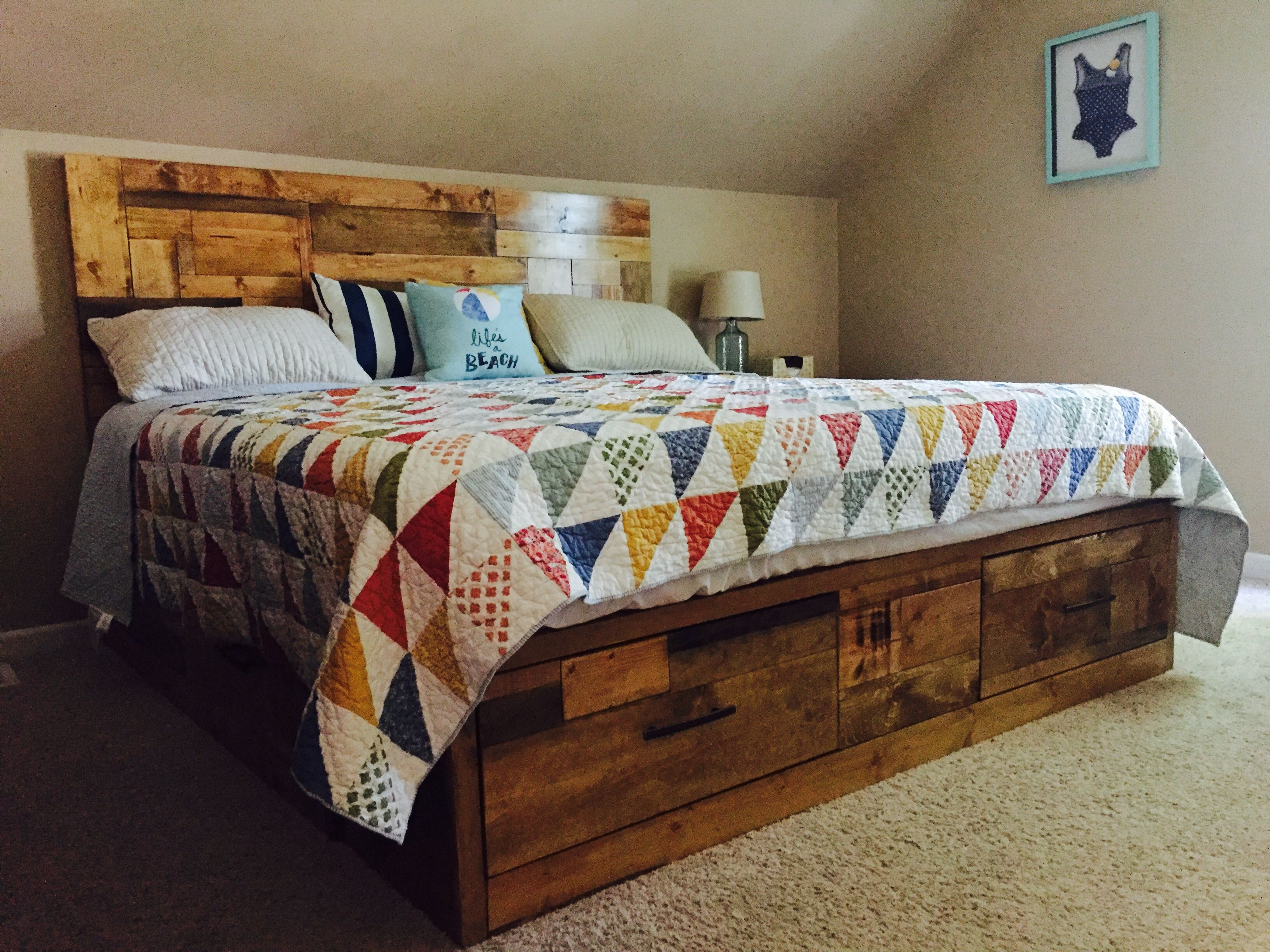Do It Yourself Home Design: King Size Brandy Scrap Wood Bed