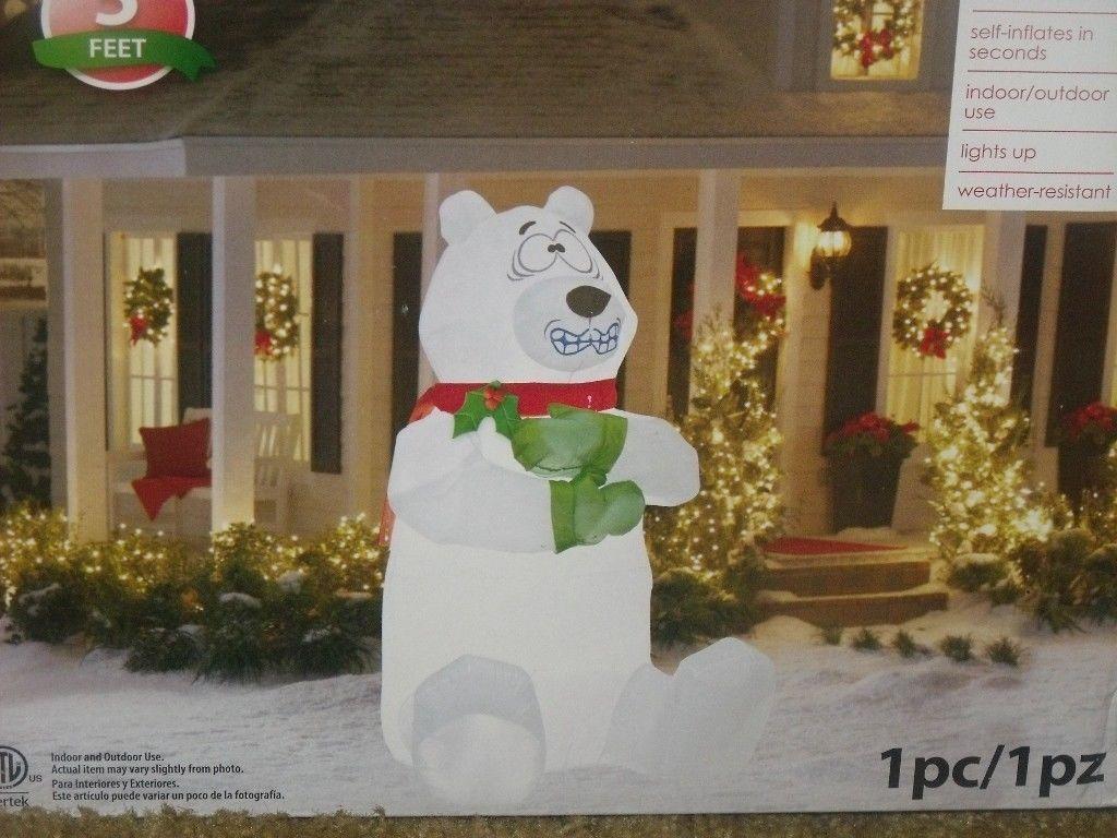 Christmas Lighted Animated Airblown Inflatable Shaking Polar Bear Figure Yard 5 Ebay