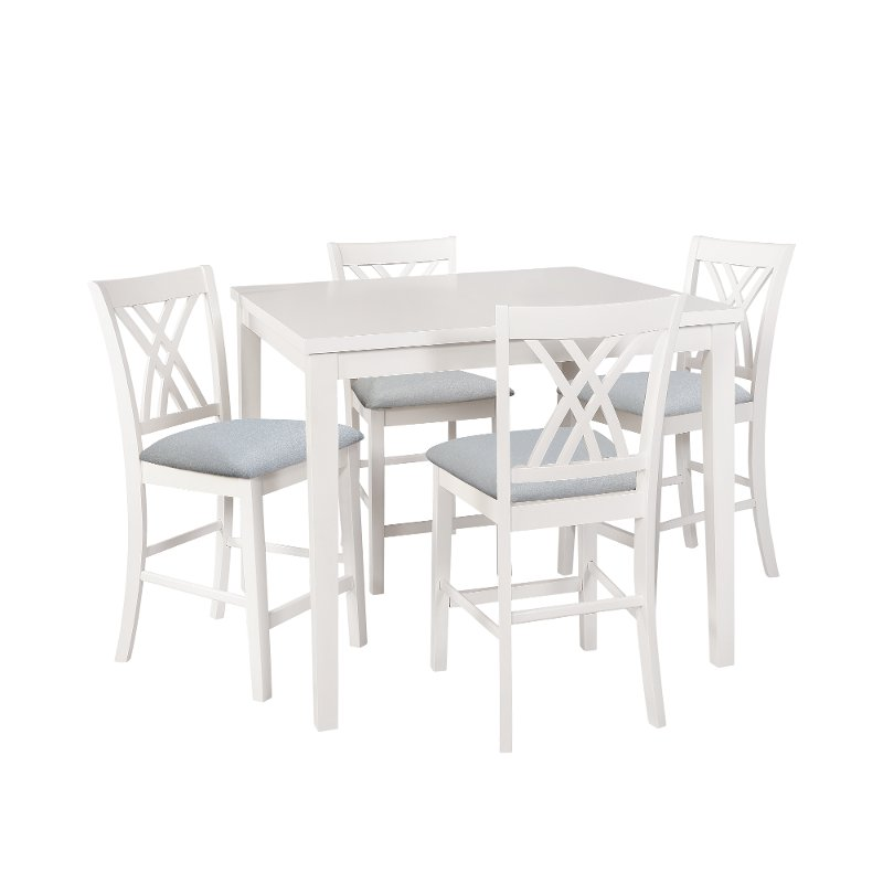 White 5 Piece Counter Height Dining Set Starla Counter Height