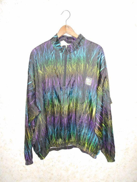 Vtg 80s Rare Surf Style Rainbow Wrinkle Pullover by CoolDogVintage