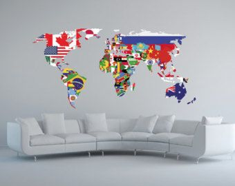 World map wall decal geography wall art by stephenedwardgraphic world map wall decal geography wall art by stephenedwardgraphic gumiabroncs Image collections