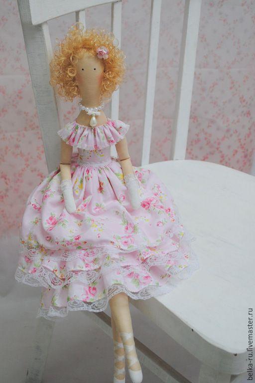 Купить Кудряшка Сью. Кукла в стиле Тильда - розовый, нежно-розовый, кукла ручной работы