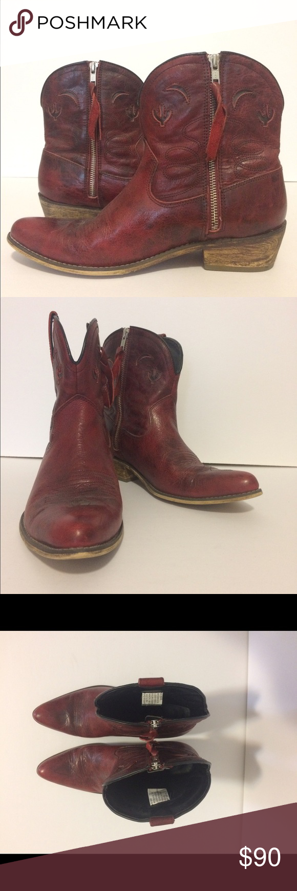 9c9d5807a30 Dingo LAD dark red cowboy short boots Red leather short cowboy ...