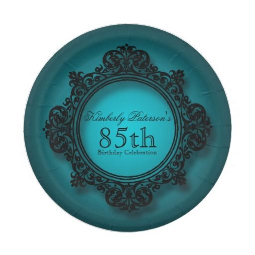 Vintage Frame in Blue - 85th Birthday Paper Plates