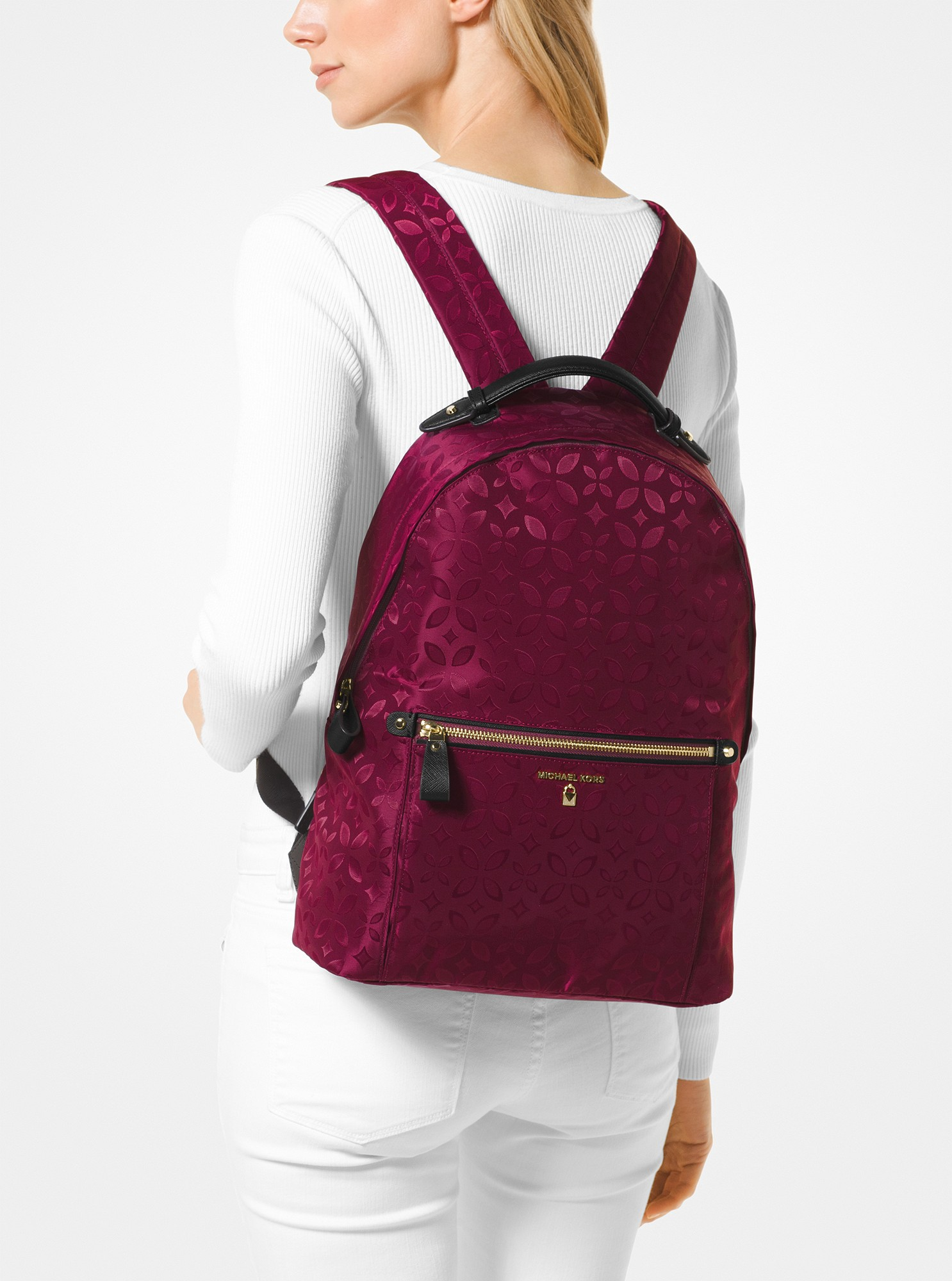 076757df7f3318 Michael Kors Kelsey Large Floral Nylon Backpack - Plum | Products ...