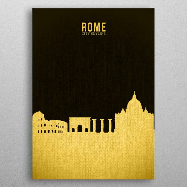 ROME_SILHOUTTE GOLD&BLACK metal poster | Displate thumbnail