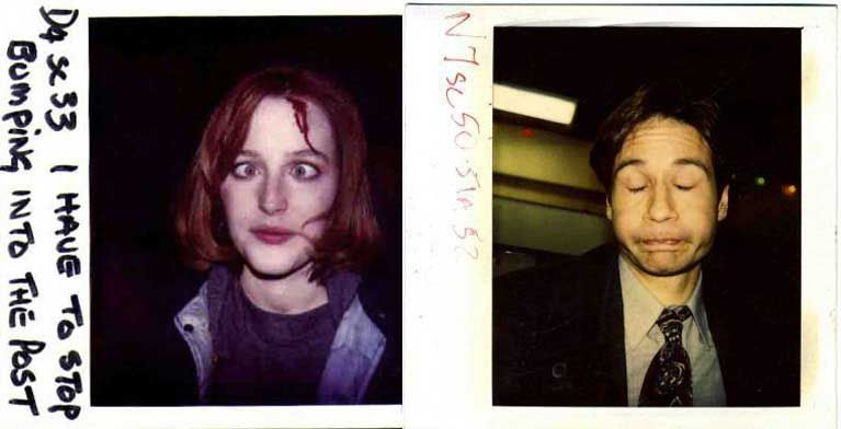 Continuity polaroids of Gillian Anderson and David Duchovny on the set of The X Files1 | Rare and beautiful celebrity photos