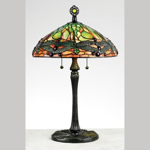 Quoizel-2-Light-Green-Dragonfly-Tiffany-Table-Lamp-Vintage