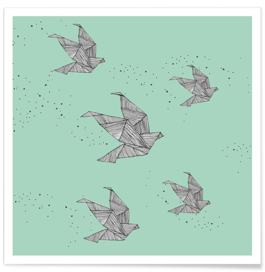 Green paper bird wall art. Origami Birds Art Print by Anika Merten now on Juniqe.com | Art. Everywhere.