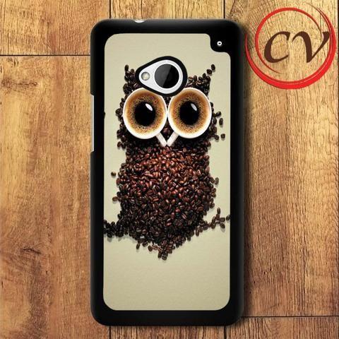 Coffee Owl HTC One M7 Black Case