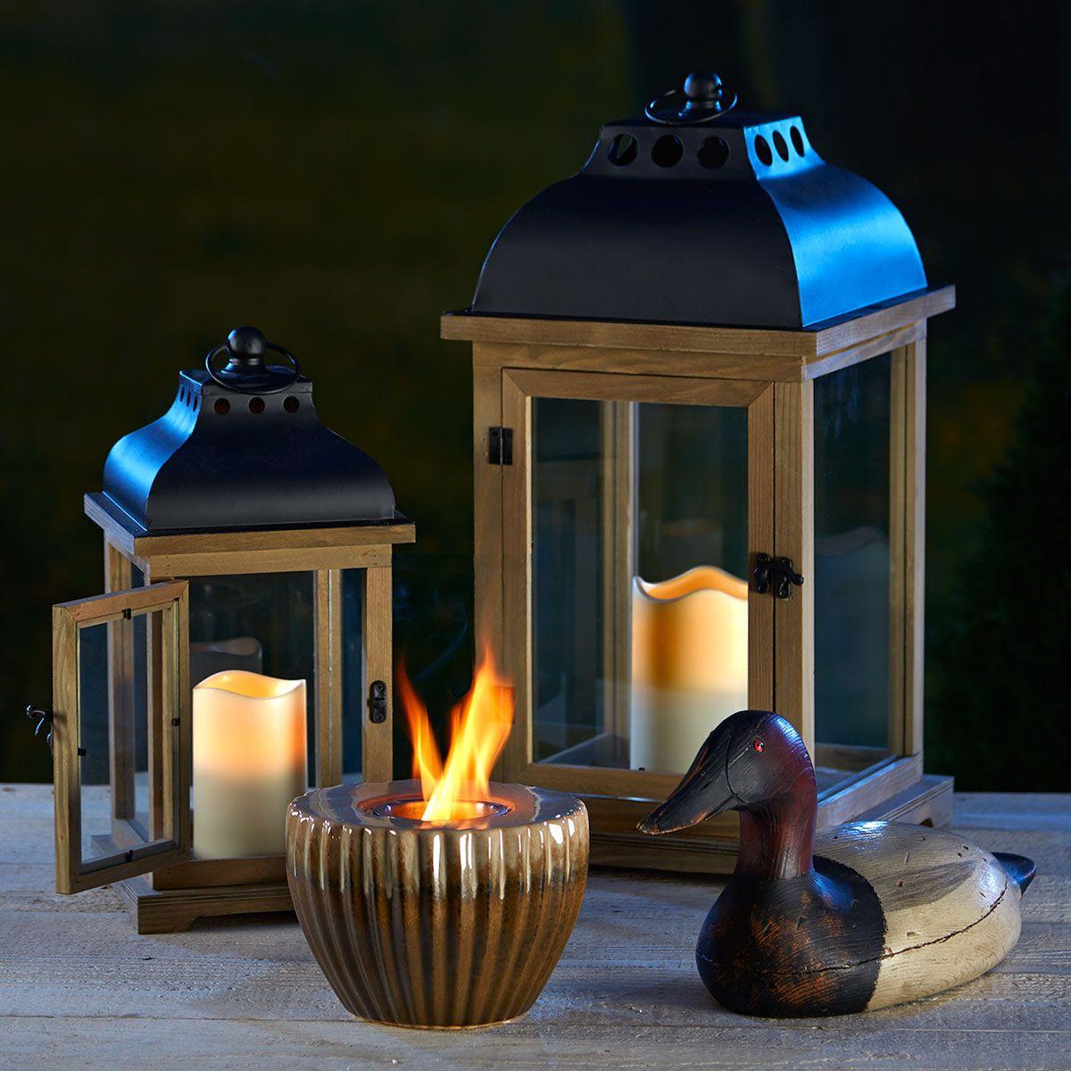 Wooden Lanterns. Ceramic Fire Pot. Duck Statue. imagens)